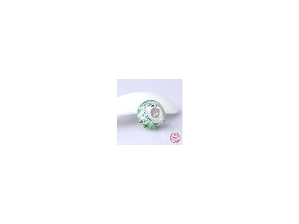 2830 strieborna 925 koralka styl pandora pestrofarebne zelene murano sklo