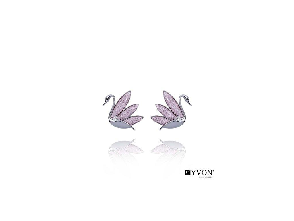 2839 ruzove krystalove nausnice labute