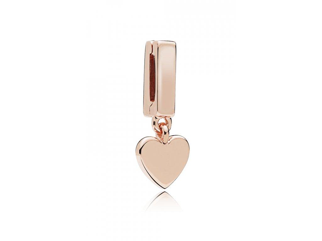 2860 strieborna 925 koralka styl pandora reflections ruzovo zlata privesok srdce