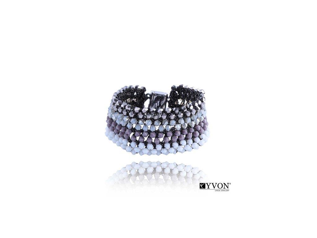 2881 krystalovy naramok v style glamour sivofialovy
