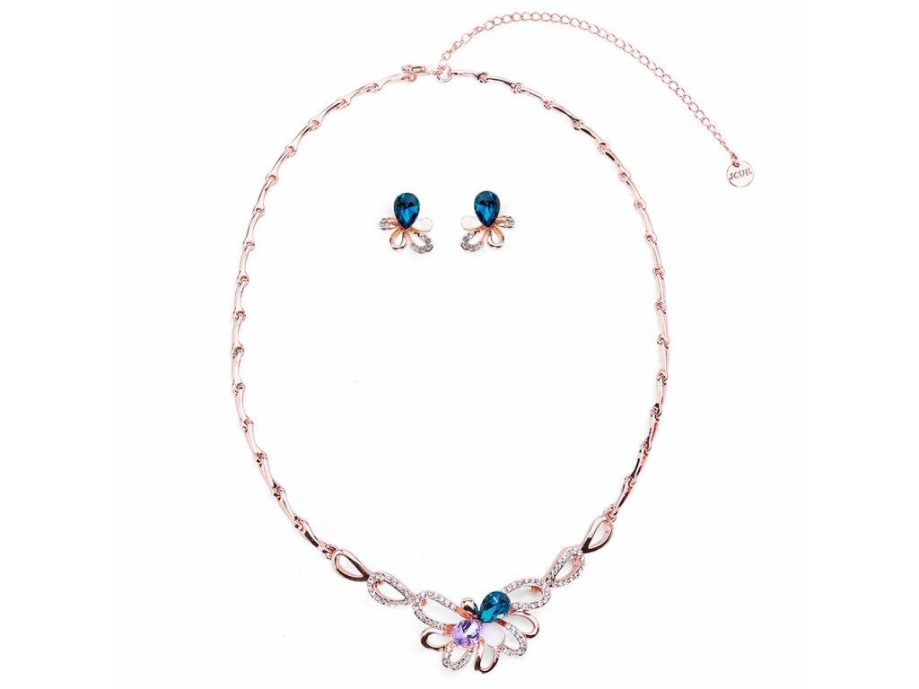 3013 zlaty luxusny set s kvetovou aplikaciou zdobenou krystalmi a zirkonmi