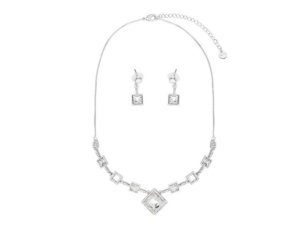 3037 luxusny set striebornej farby zdobeny krystalmi v tvare diamantu