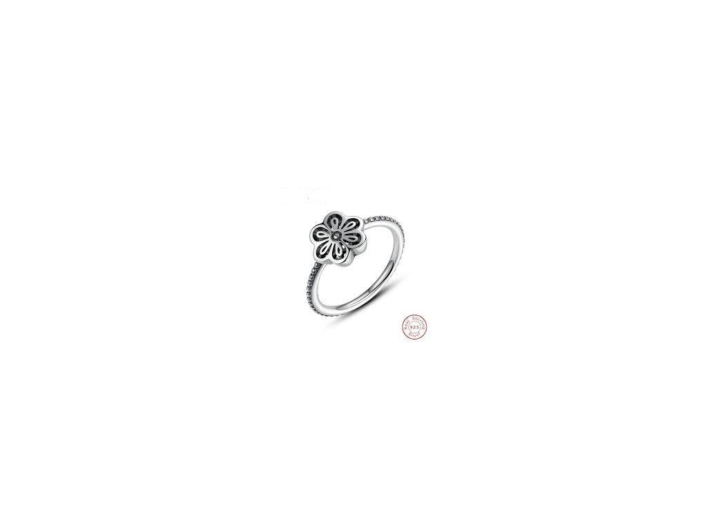 3193 2 damsky strieborny 925 prsten s kvietkom