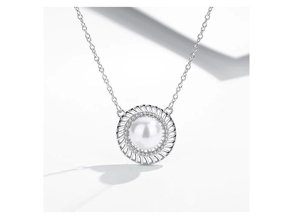 Strieborný 925 náhrdelník s perlou