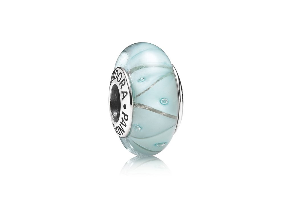 3340 strieborna 925 koralka styl pandora murano sklo slabo modra
