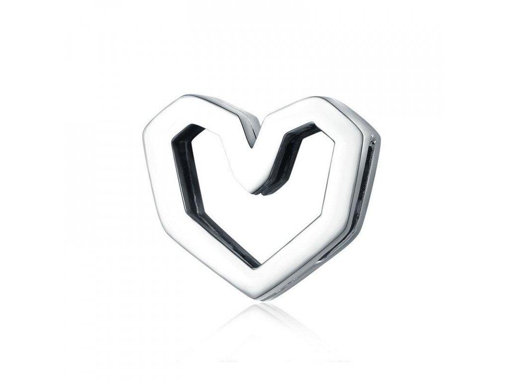 3838 strieborna 925 koralka styl pandora reflections geometricke srdce