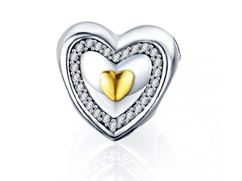 388 1 koralka styl pandora strieborno zlata 925 v tvare srdca