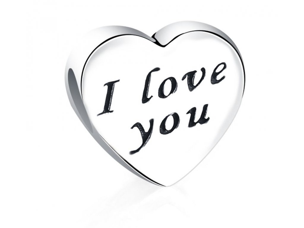391 strieborna 925 koralka styl pandora srdce i love you