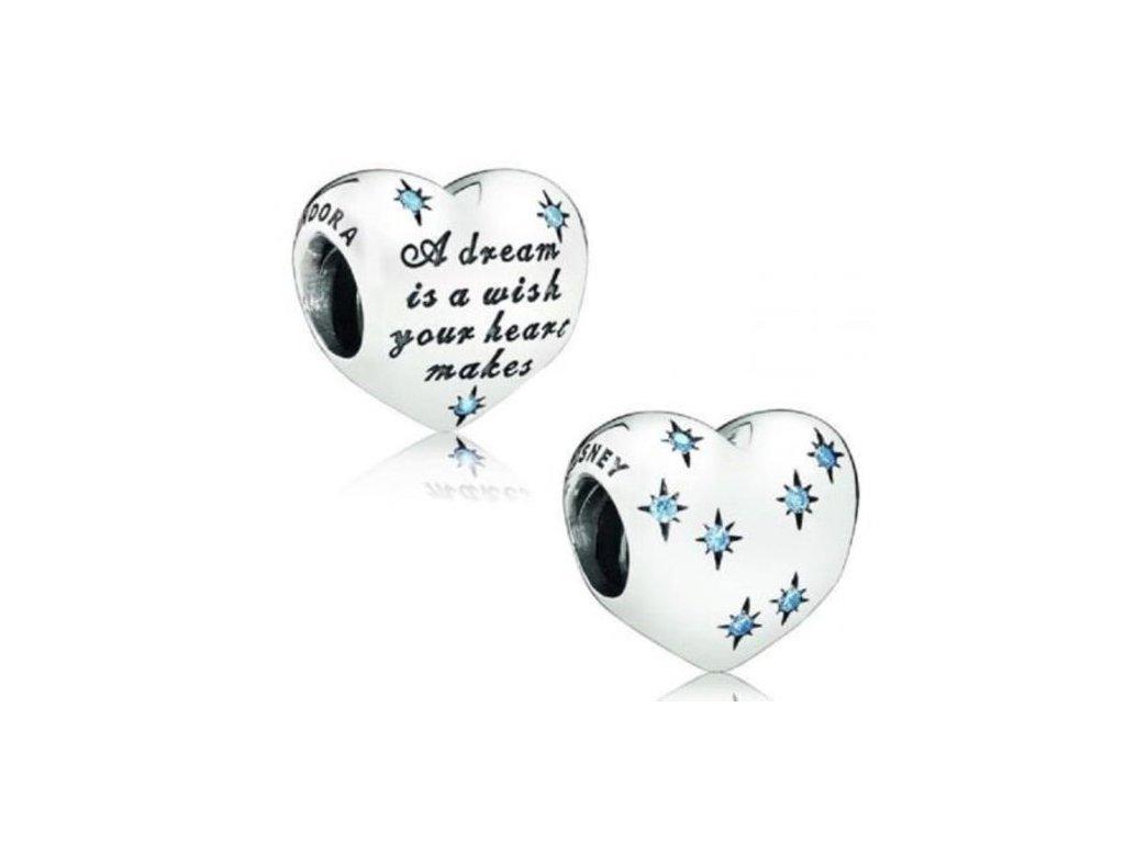 3955 strieborna 925 koralka styl pandora srdce s modrymi hviezdami