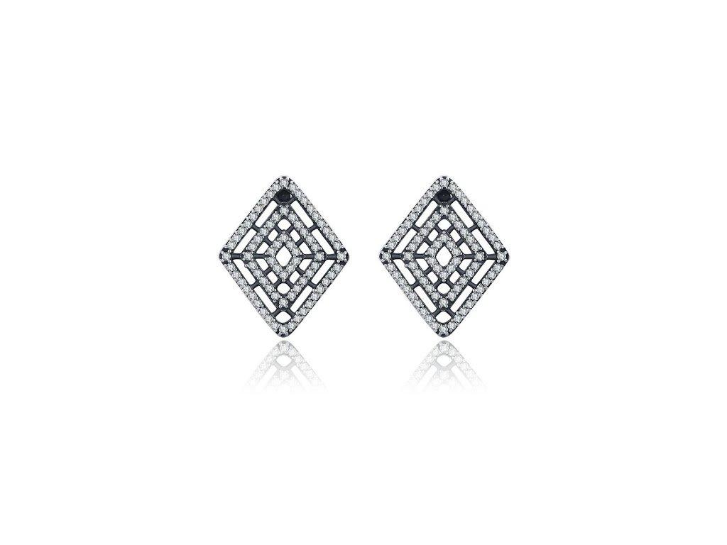 3970 strieborne nausnice styl pandora trblietavy diamant
