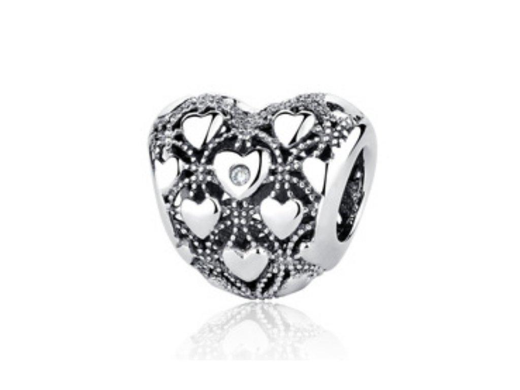400 2 strieborna 925 koralka styl pandora srdce s malymi srdieckami