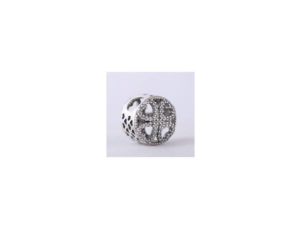 4225 strieborna 925 koralka styl pandora zirkonovy stvorlistok