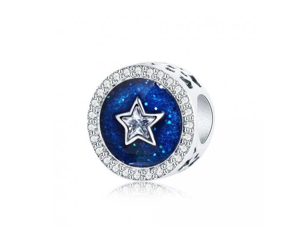 4345 strieborna 925 koralka styl pandora hviezda na modrej oblohe