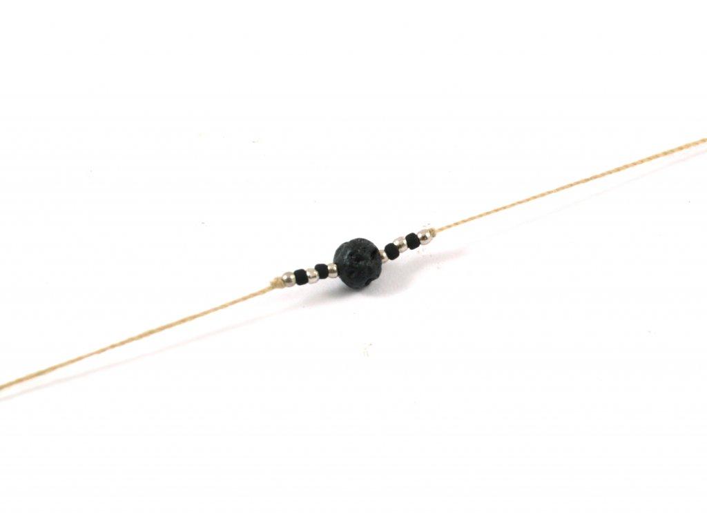 Bavlnený šnúrkový náramok s lávovým kameňom - hnedý