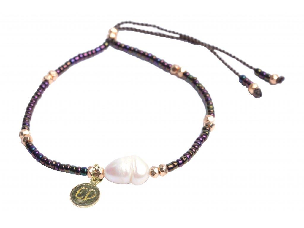 Náramok z japonského rokajlu s riečnou perlou - čierny
