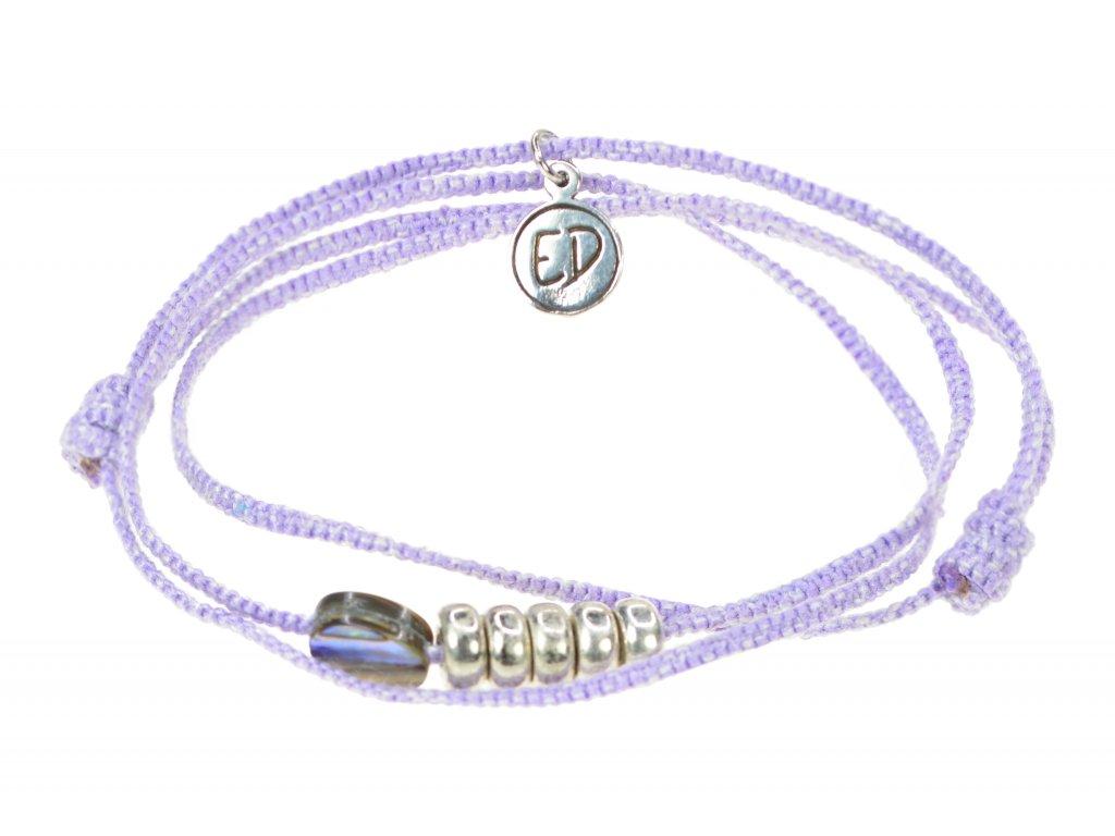 Pletený náramok s Paua mušľou - fialový