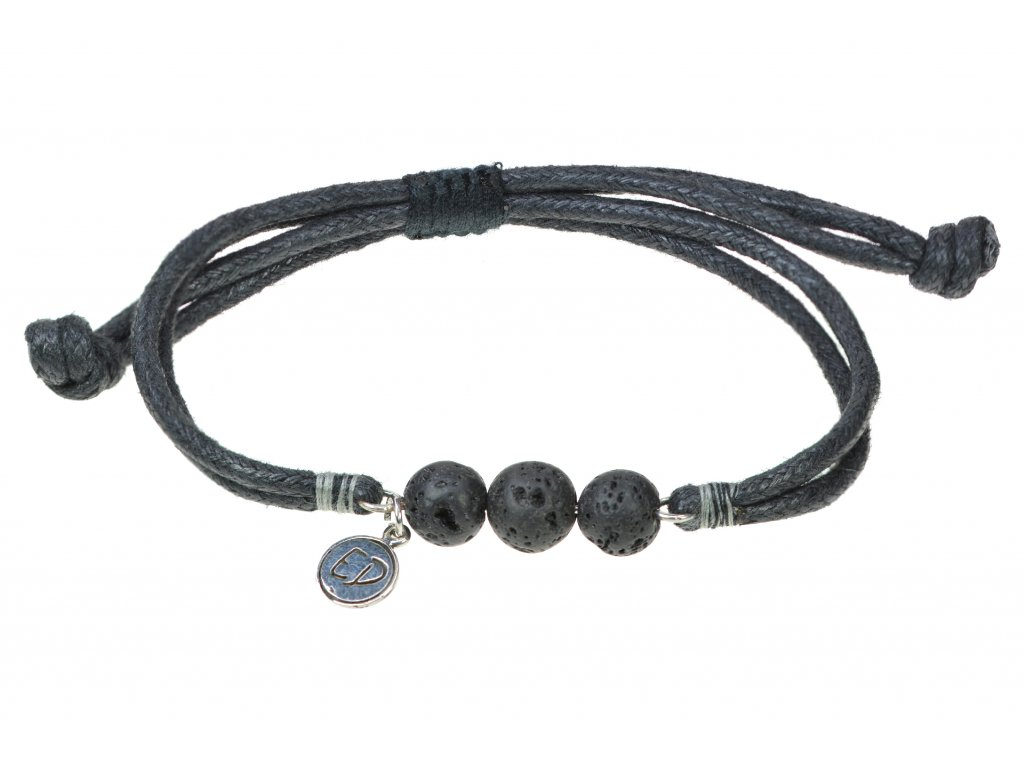 Pánsky náramok s lávovými kameňmi a sivou bavlnenou nitkou