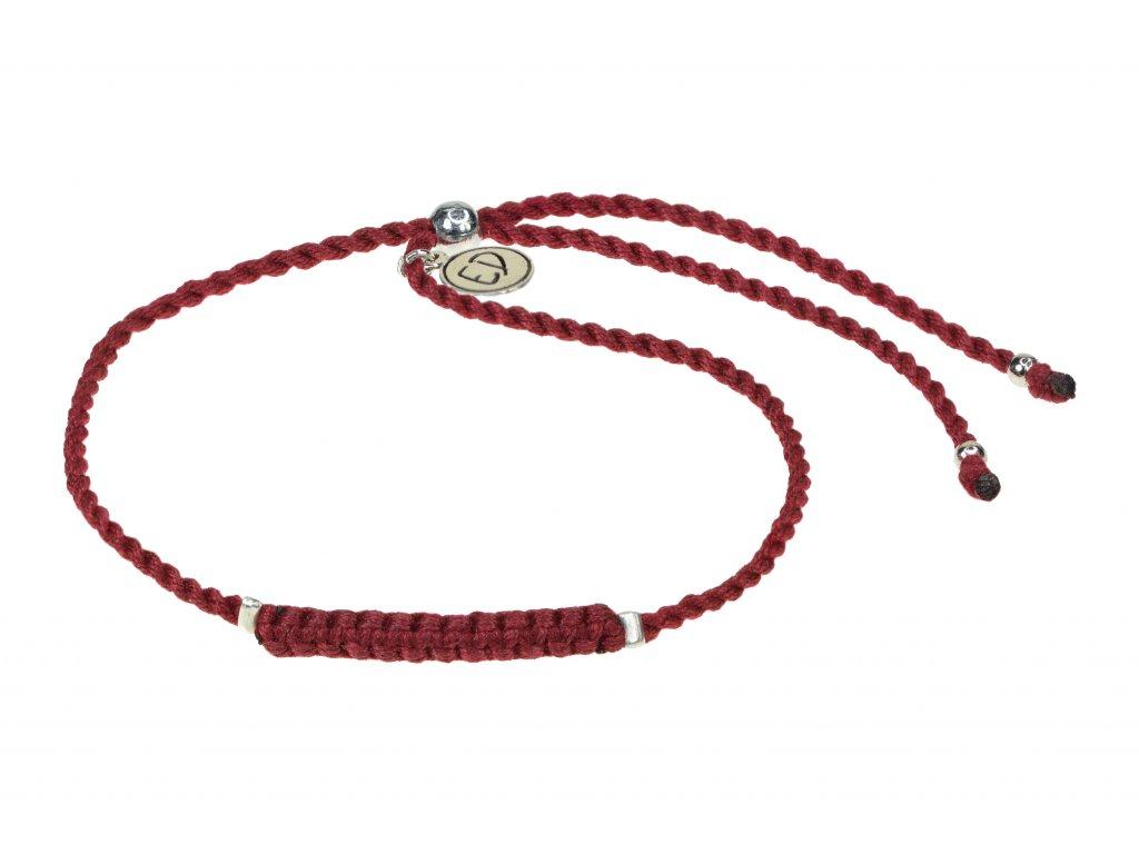 Dámsky pletený náramok s korálkami  - vínový
