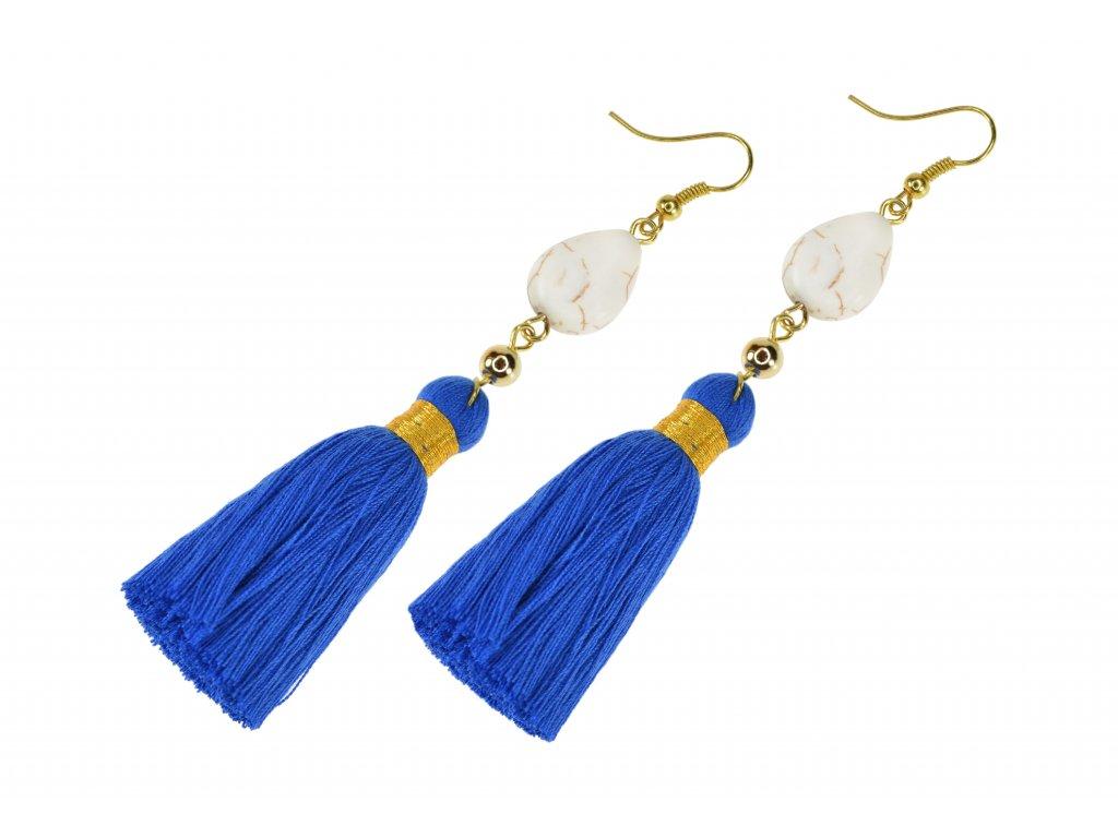 Strapcové handmade náušnice s kameňom - modré