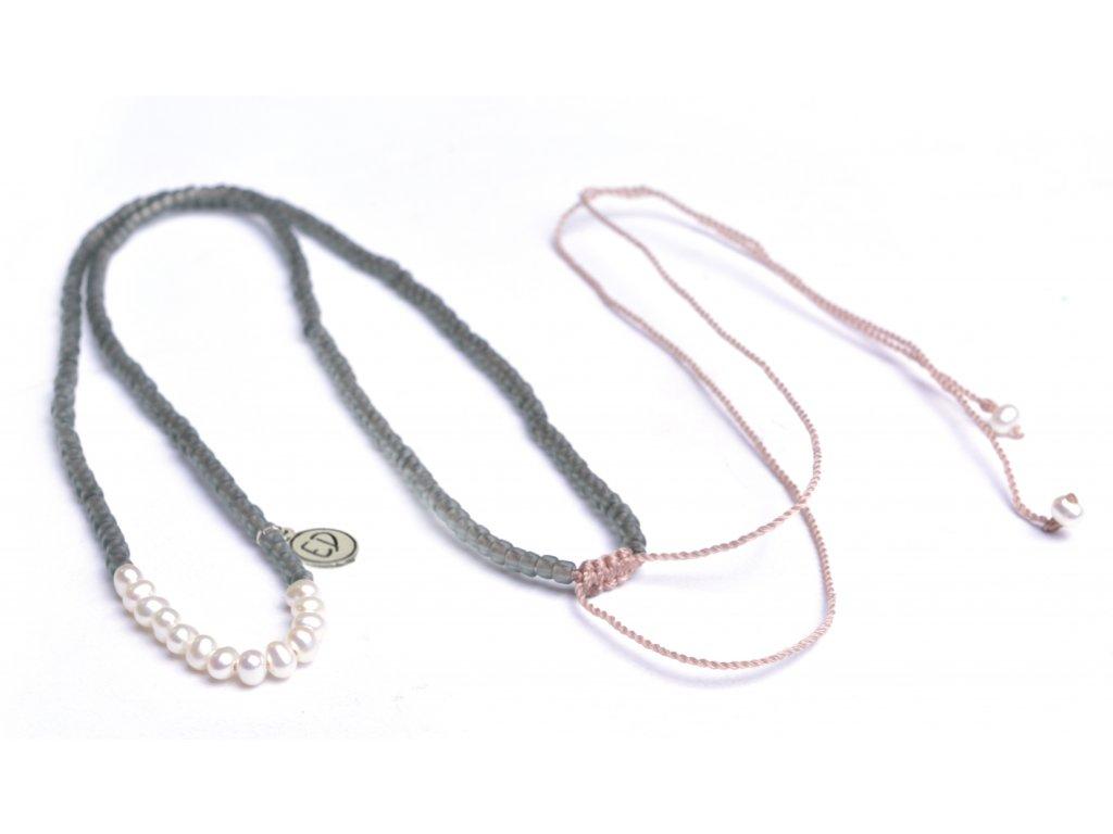 Náhrdelník z japonského rokajlu s perličkami - sivý