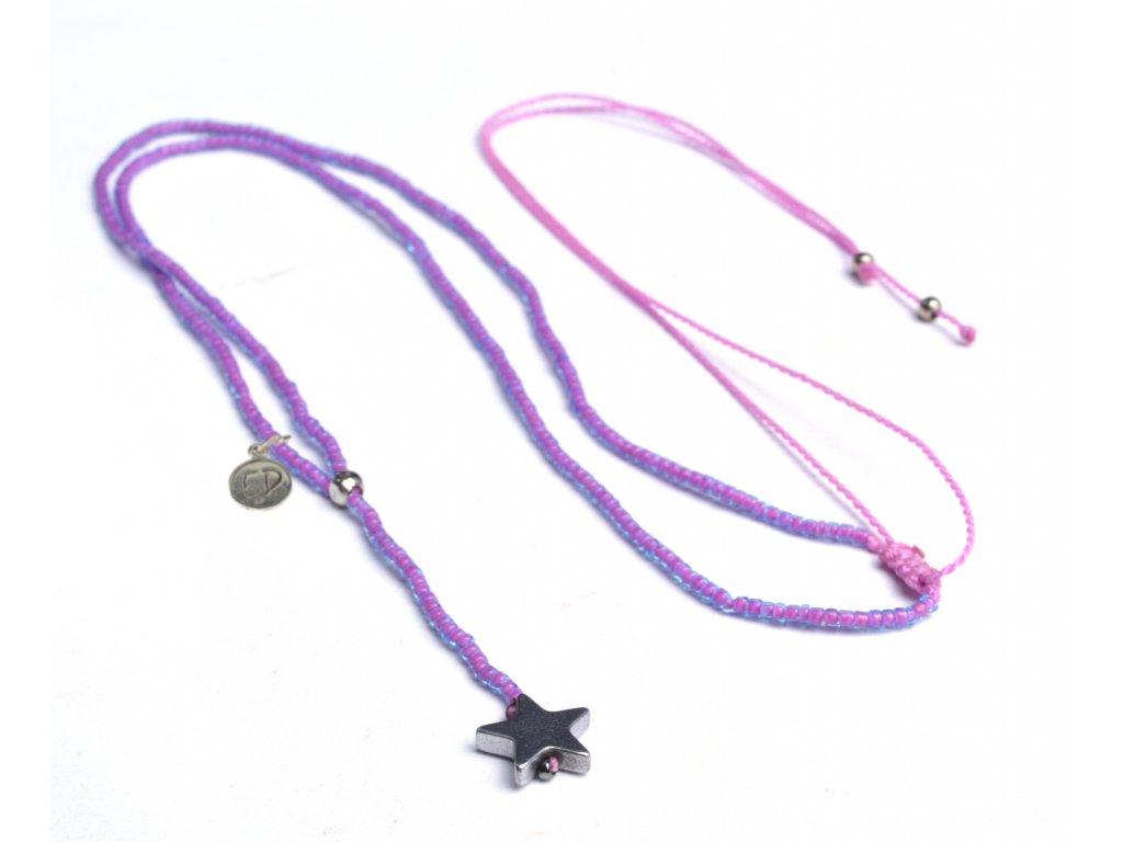 Dámsky prírodný náhrdelník z japonského rokajlu a s hviezdičkou z hematitu - ružový
