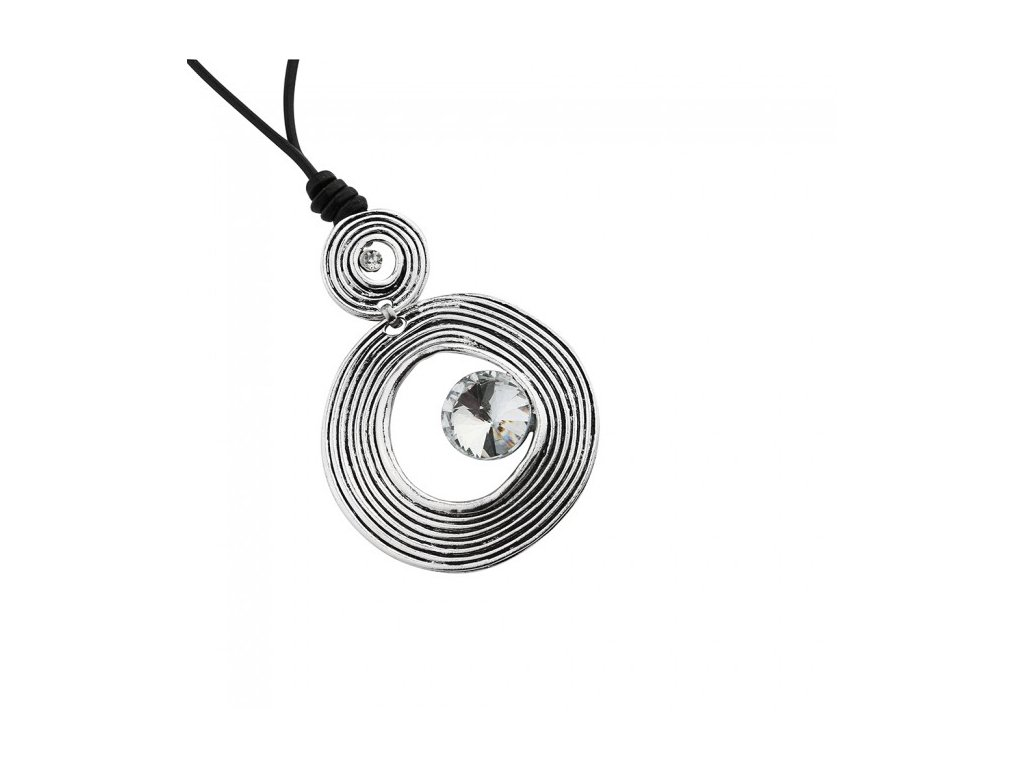 553 kovovy nahrdelnik v tvare kruhu s kamienkom
