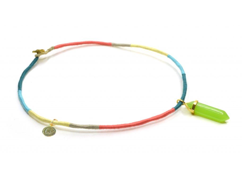 Dámsky pevný pletený náhrdelník s limetkovým minerálnym príveskom