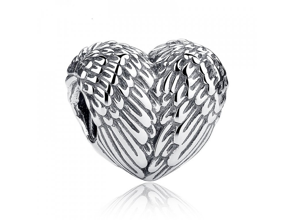 577 strieborna 925 koralka styl pandora anjelske srdce