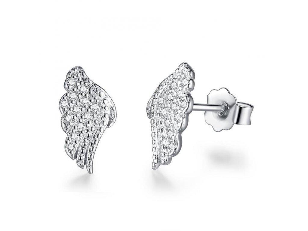 5932 strieborne nausnice styl pandora anjelske kridla