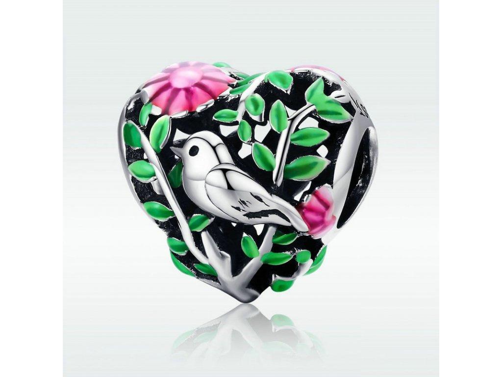 604 strieborna 925 koralka styl pandora v tvare srdca s vtacikom