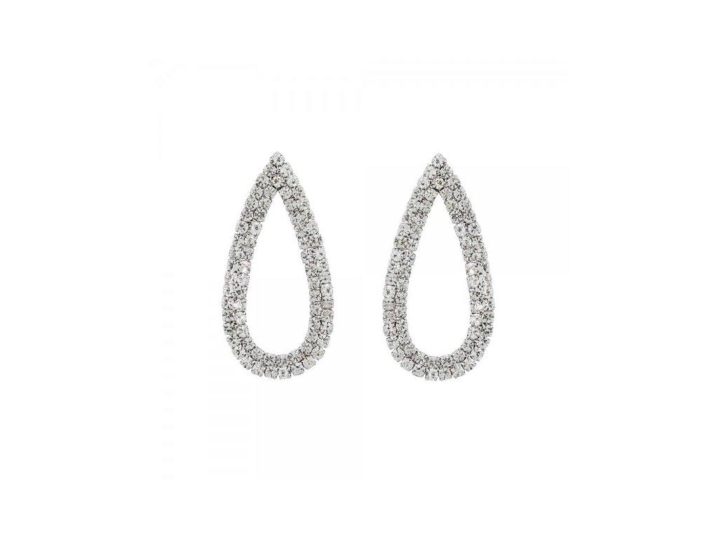 607 strieborne diamantove nausnice v tvare slzy