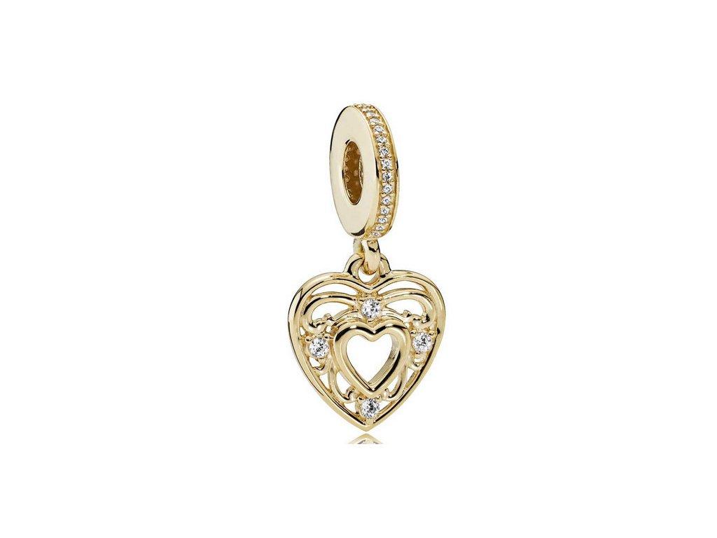 6085 strieborna 925 koralka styl pandora privesok zlate srdce
