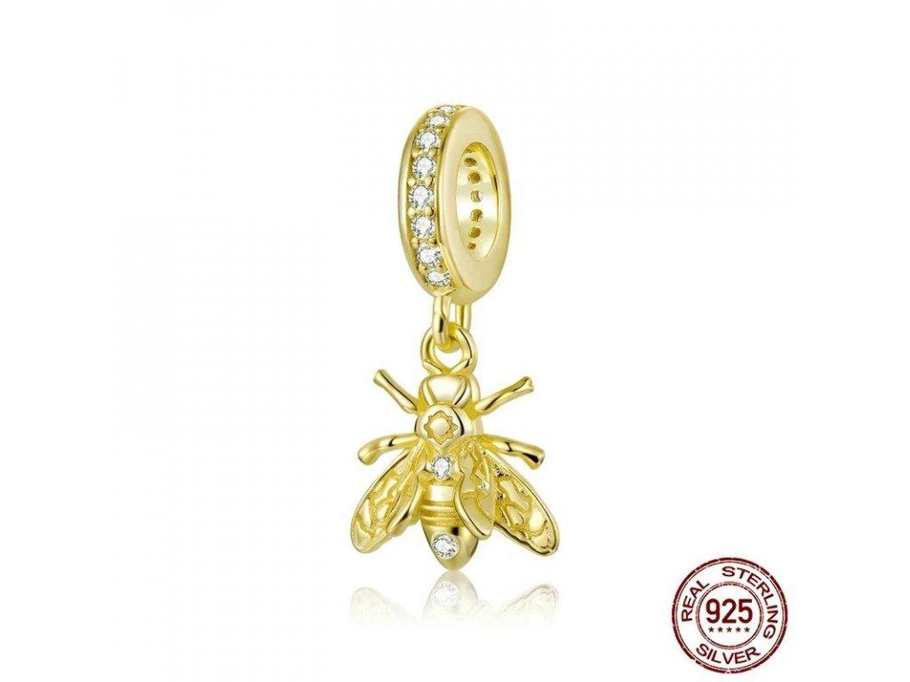 6160 strieborna 925 koralka styl pandora privesok vcela
