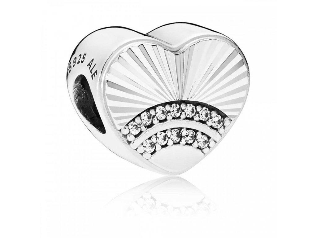 6337 strieborna 925 koralka styl pandora srdce so zirkonmi