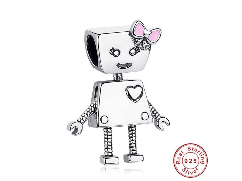 6355 1 strieborna koralka styl pandora robot dievcatko