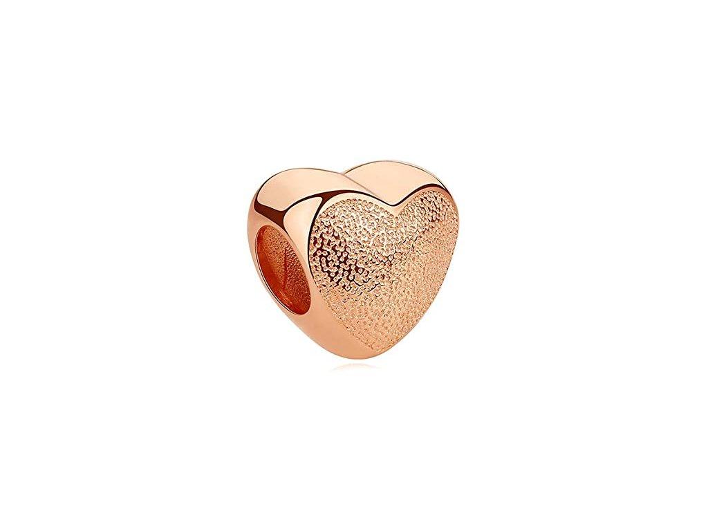 6382 1 strieborna koralka styl pandora ruzovo zlate srdce