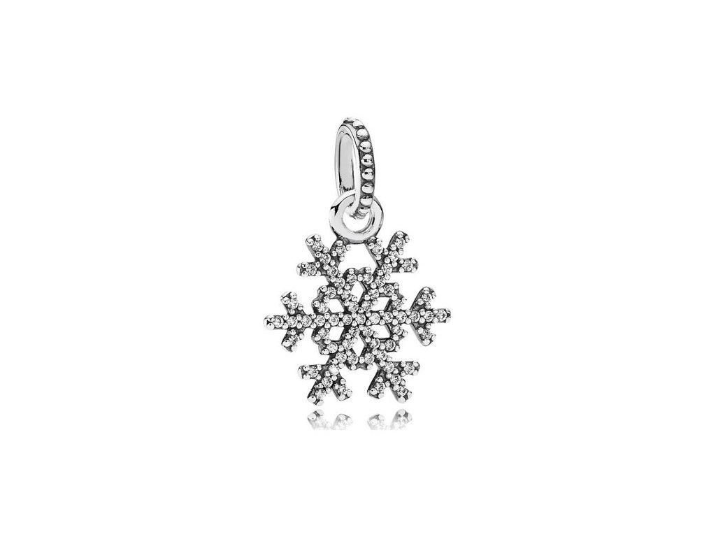 6586 1 strieborna koralka privesok styl pandora zirkonova snehova vlocka