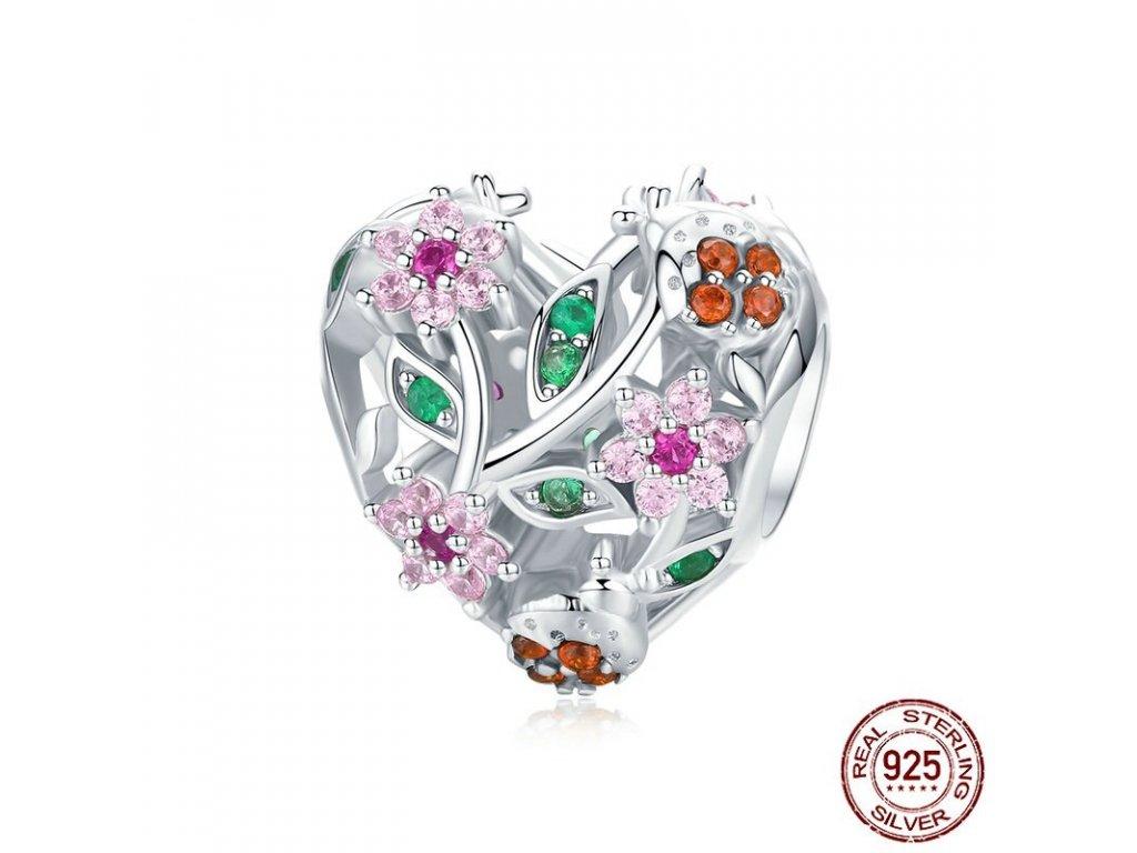 6667 1 strieborna koralka styl pandora srdce s ruzovymi kvietkami