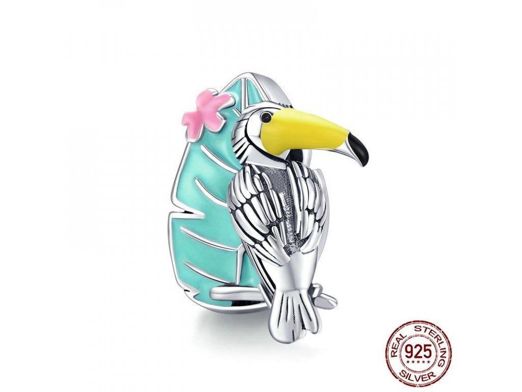 6676 1 strieborna koralka styl pandora pestrofarebny papagaj