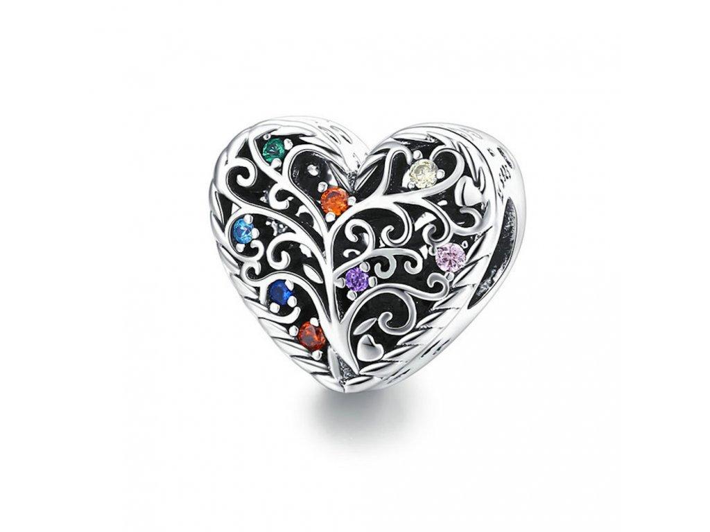 6706 1 strieborna koralka privesok styl pandora srdce strom zvota s farebnymi zirkonmi