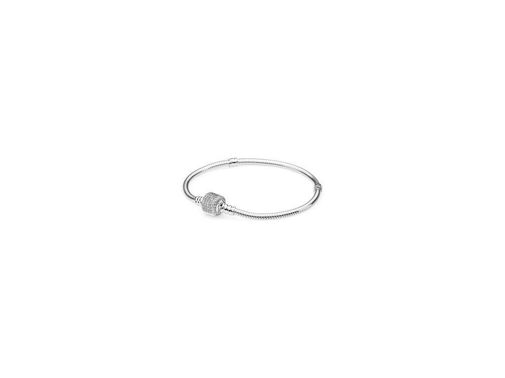 Náramok štýl Pandora jednoduchý so zapínaním v tvare valca zdobený kamienkami (Dĺžka 20 cm)