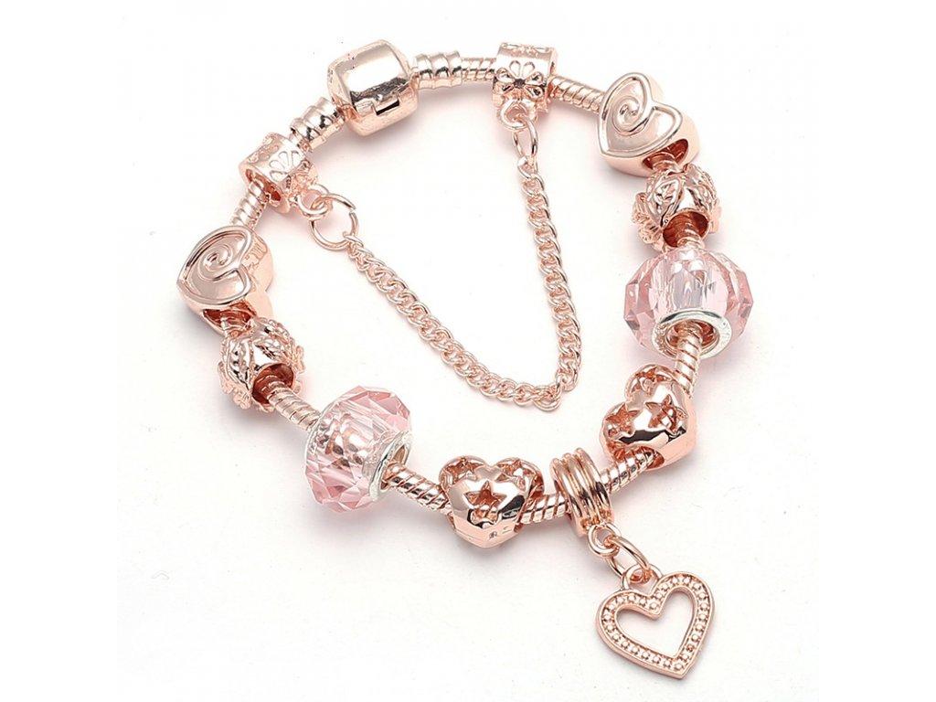 Ružovo zlatý náramok štýl Pandora s korálkami v tvare srdca a visiacim srdiečkom 17 cm, 18 cm, 19 cm (Dĺžka 19 cm)
