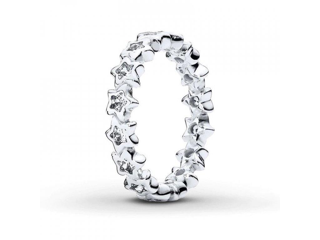 Strieborný 925 prsteň štýl Pandora - zirkónové hviezdy (veľkosť prsteňa 56)