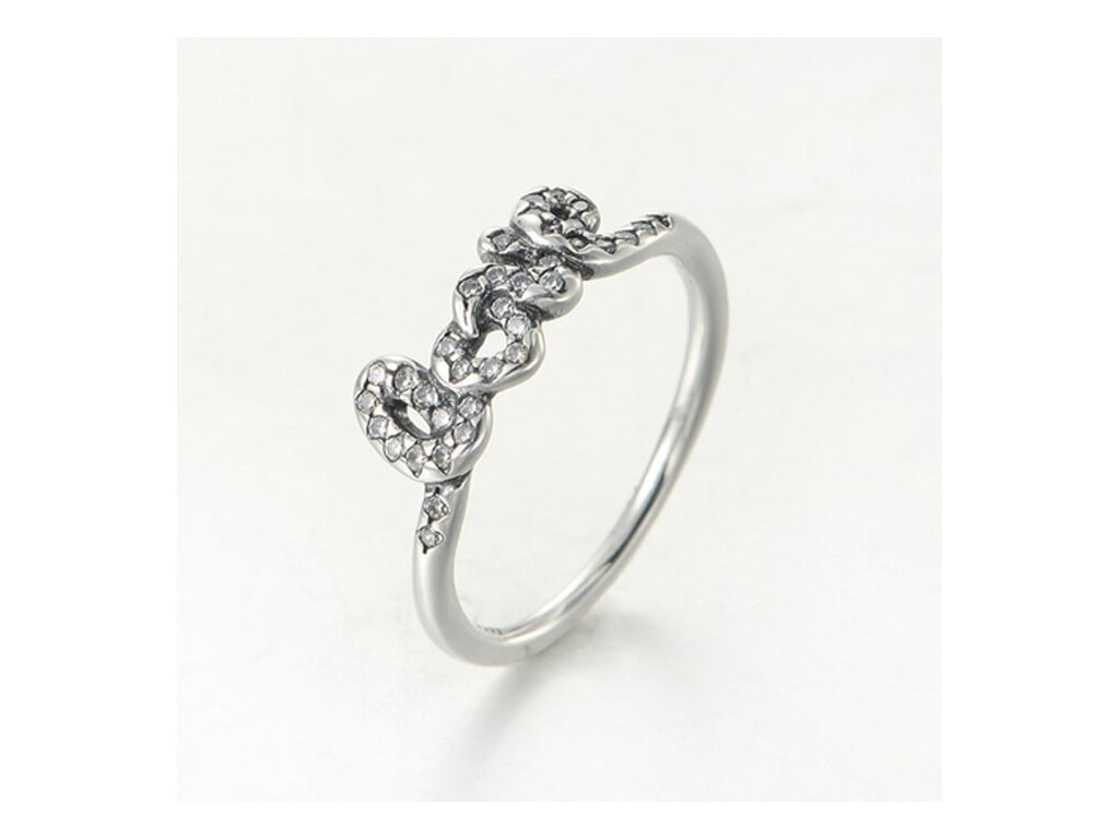 Strieborný 925 prsteň štýl Pandora s nápisom LOVE (veľkosť prsteňa 56)