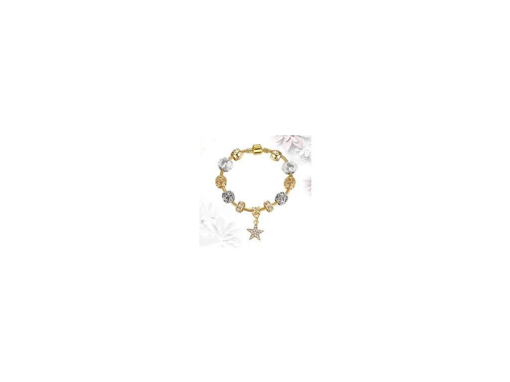 Dámsky náramok zlatý s príveskom hviezdy (Dĺžka 20 cm)