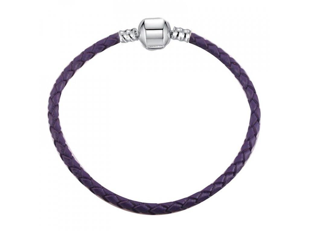 Jednoduchý kožený náramok štýl Pandora fialový (Dĺžka 16 cm)
