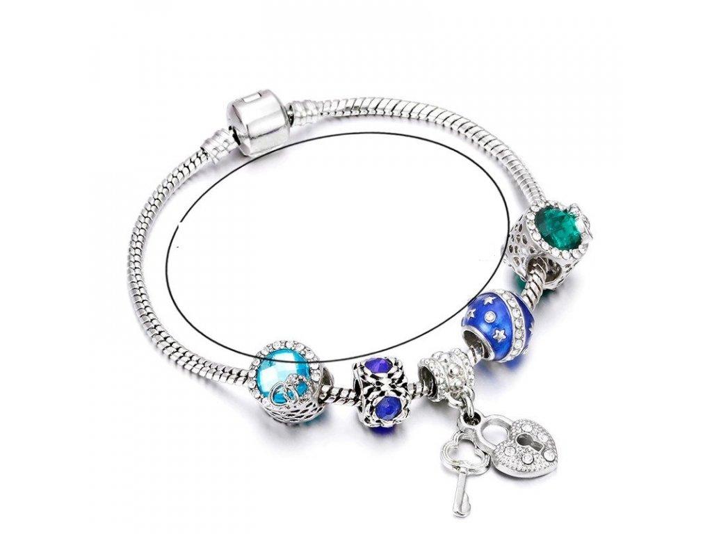 Dámsky náramok štýl Pandora s príveskom kľúč k srdcu (Dĺžka 17 cm)