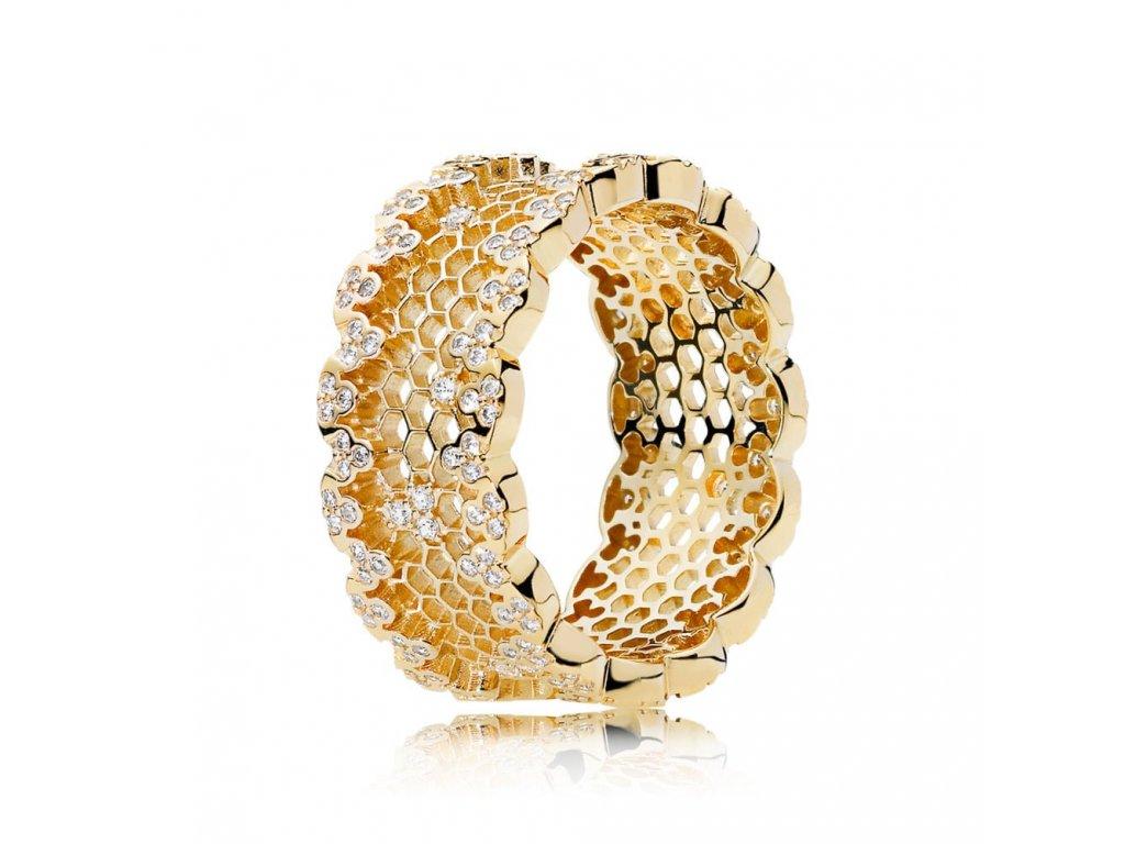 Strieborný exkluzívny prsteň štýl Pandora zlatý Včelí plást (veľkosť prsteňa 56)