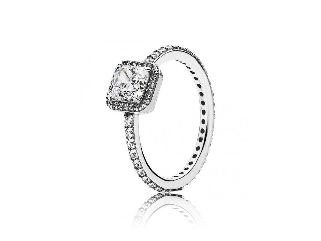 Strieborný prsteň štýl Pandora so štvorcovým zirkónom (veľkosť prsteňa 56)