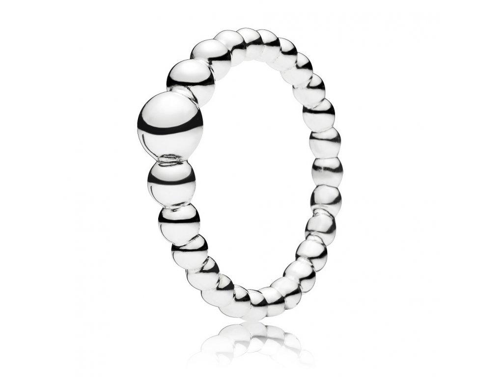 Strieborný prsteň štýl Pandora bublinkový 1 (veľkosť prsteňa 56)